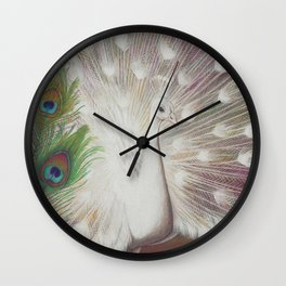 White Peacock Bird and Feathers Art Print Wall Clock