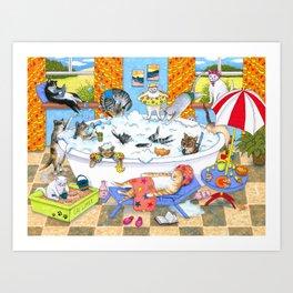 Funny cats in bath Art Print