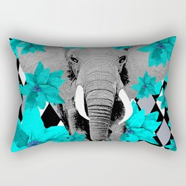 ELEPHANT and HARLEQUIN BLUE AND GRAY Rectangular Pillow