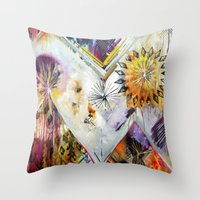 "flora bowley Throw Pillows featuring ""Burn Bright"" Original Painting by Flora Bowley by Flora Bowley"