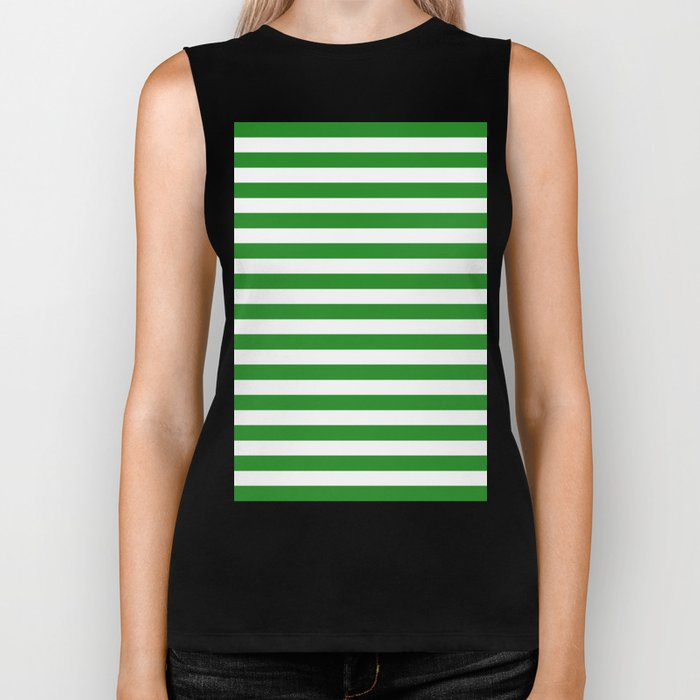 Horizontal Stripes (Forest Green/White) Biker Tank