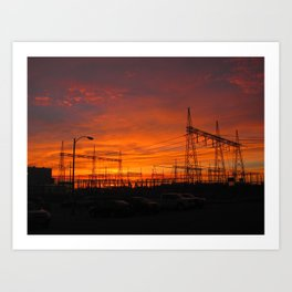 Electricial Sunset Art Print