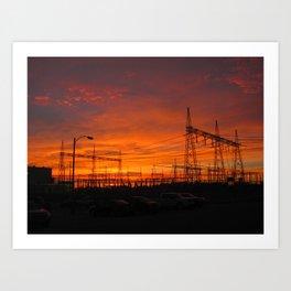 Electricial Sunset Art Print