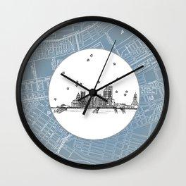 Pittsburgh, Pennsylvania City Skyline Illustration Drawing Wall Clock