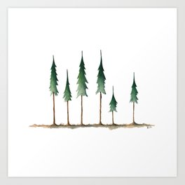 Evergreen forest holiday watercolor Art Print