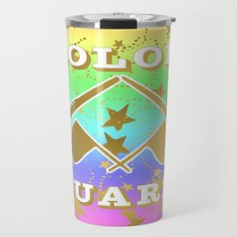 Color Guard Rainbow and Gold Stars Design Travel Mug