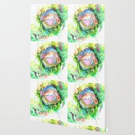 Aquarium Fish, Green Rainbow colors, Discus, Pink Green Illustration Wallpaper