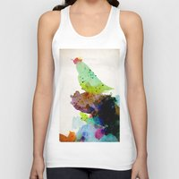 contemporary Tank Tops featuring Bird standing on a tree by contemporary