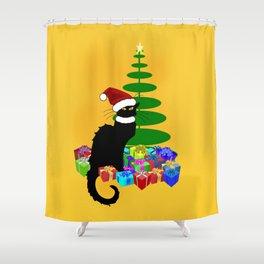 Christmas Le Chat Noir With Santa Hat Shower Curtain