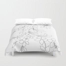 Minimal Wild Roses Line Art Duvet Cover