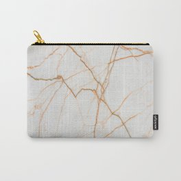 stylish minimalist trendy chic rose gold white marble Carry-All Pouch