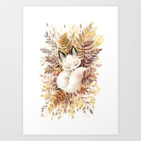 brown Art Prints featuring Slumber by Freeminds