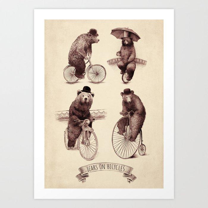 Bears on Bicycles Art Print