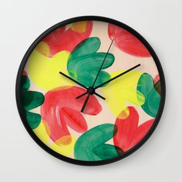 Vibrant Acrylic Painting Layered Tulips Floral Pattern Multi Colors Green Red Yellow Large Brush Wall Clock