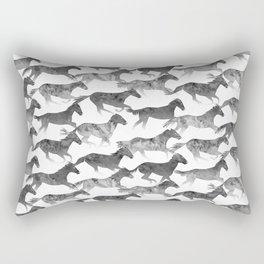 Running Watercolor Horses Ink Black Rectangular Pillow