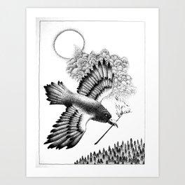 Rainbow Crow Art Print