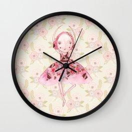 Isabella Bellarina Dancing on Flowers Wall Clock