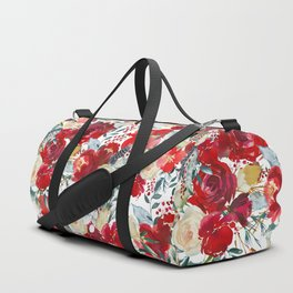 Red teal hand painted boho watercolor roses floral Duffle Bag