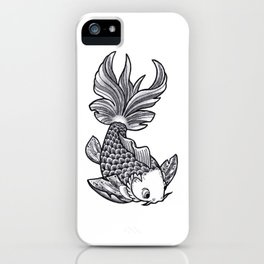 Fish handmade Drawing, Made in pencil, charcoal and ink, Tattoo Sketch, Tattoo Flash, Carp Koi iPhone Case