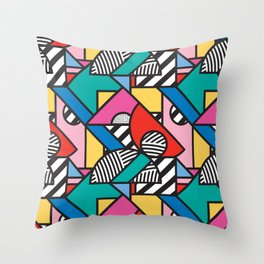 Colorful Memphis Modern Geometric Shapes - Tribal Kente African Aztec Throw Pillow
