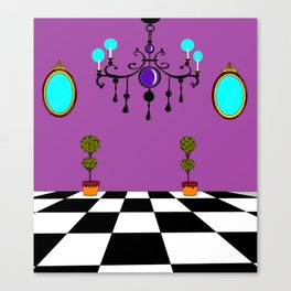An Elegant Hall of Mirrors with Chandler and Topiary in Purples Canvas Print