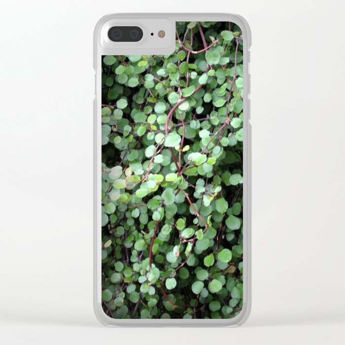Flower | Flowers | Small Green Leaves | Leaf Vine Vignette Clear iPhone Case