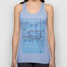 Chicago map in blue Unisex Tank Top