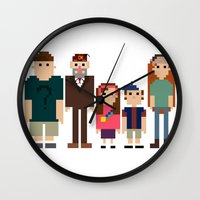 gravity falls Wall Clocks featuring Gravity Falls 8-bit by Evelyn Gonzalez