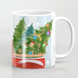 Christmas Red PickUp Truck on a Snowy Road Coffee Mug