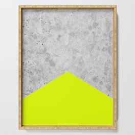 Geometric Concrete Arrow Design - Neon Yellow #521 Serving Tray