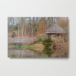 Brookside Bridge & Gazebo Metal Print