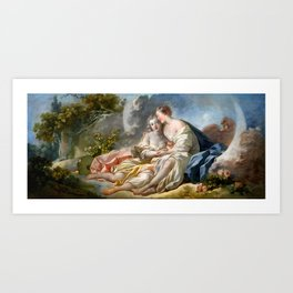 "Jean-Honoré Fragonard ""Jupiter Disguised As Diana Tries To Seduce Callisto"" Art Print"