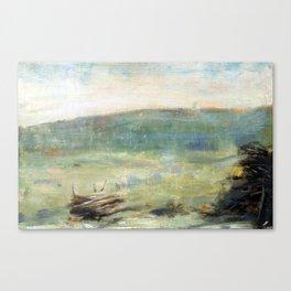 Georges Seurat Landscape at Saint-Ouen Canvas Print