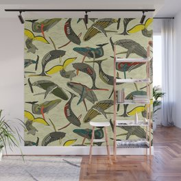 whales and waves bold Wall Mural