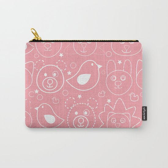 Baby Animals Coral Carry-All Pouch