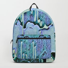Old Wallpaper Blue and Green Backpack