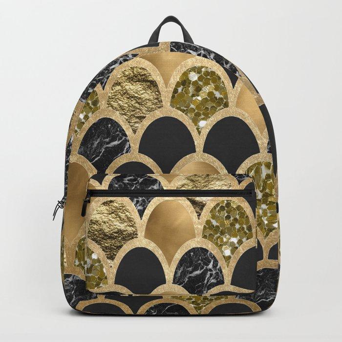 Ebony ink - golden mermaid scales Backpack
