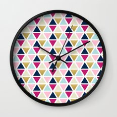 Triangle Geometry, Gold, Navy blue and Pink Wall Clock