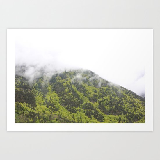 Mountains in the fog Art Print