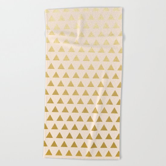 Blush + Gold Triangles #society6 #decor #buyart Beach Towel