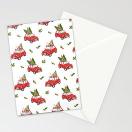 Santa Claus christmas car in winter forest  Stationery Cards