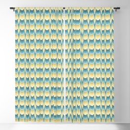 Flame stitch prongs yellow teal Blackout Curtain