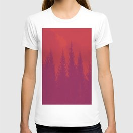 Purple Forest On Red Background #decor #society6 T-shirt