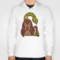 anaconda Hoodies featuring The Walrus and the Anaconda by Artistic Dyslexia