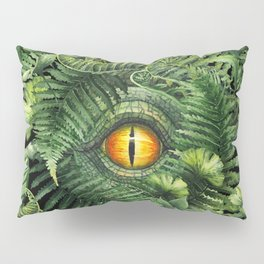 Watercolor dinosaur eye and prehistoric plants Pillow Sham