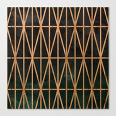 Wood geometric triangles on gray charcoal green forest ombre watercolor Canvas Print