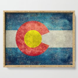 Colorado State flag, Vintage retro style Serving Tray