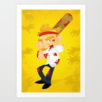 shaun of the dead Art Prints featuring Shaun of the Dead by Mike Spiers Art Store