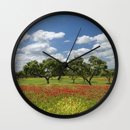 Poppies and cork trees Wall Clock