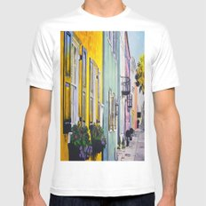 Row of Color MEDIUM White Mens Fitted Tee